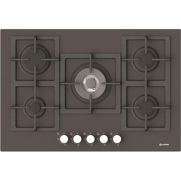 Enamelled Hob with cast iron grids  Pi-Z75v4g1tc Quadro slate color