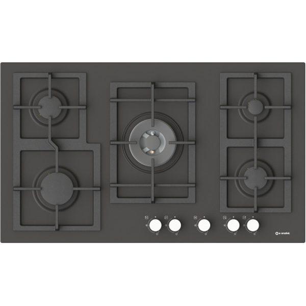90 cm Enamelled 5 Burners Hob-Pi-Z90v4g1tc Quadro Slate color